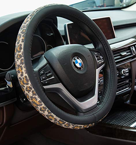 Crystal Diamond Steering Wheel Cover, PU Leather with Colorful Leopard Bling Bling Rhinestones, Universal 15inch / 38cm for Women Girls, Yellow