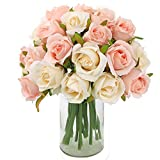 CEWOR 2 Packs Artificial Rose Flowers Bouquet 24 Heads Silk Flowers Rose for Home Bridal Wedding Party Festival Decor (Champagne)