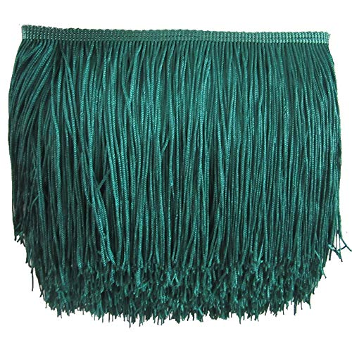 KOLIGHT 10yards Polyester Lace Tassel Fringe Trim Decoration for Latin Dress Stage Clothes Lamp Shade (Teal)