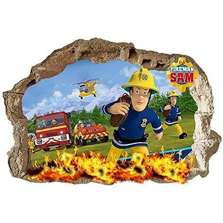 SAM le Pompier Stickers muraux enfants Chambre à coucher garçons filles Art mural papier peint mural Grande taille 70cmx47cm