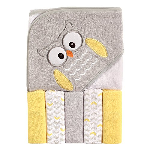 Luvable Friends Unisex Baby Hooded Towel with Five Washcloths, Owl, One Size