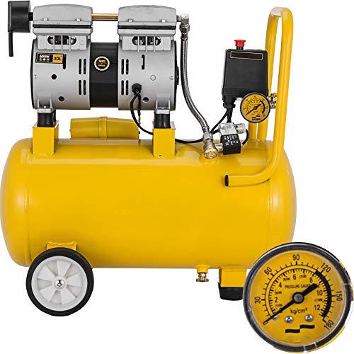Mophorn Compresor de Aire Compresor sin Aceite de Lubricación de Aceite Portátil Compresor (500W/24L)