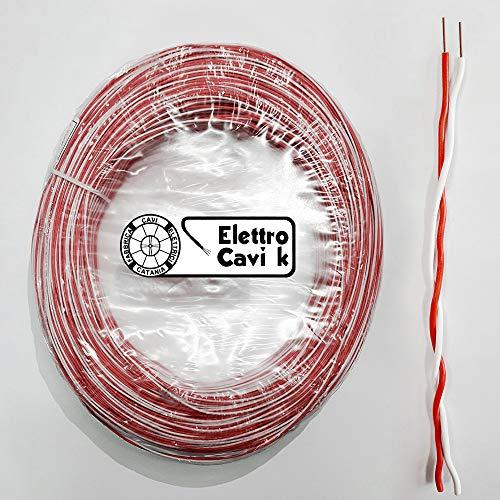 ELETTRO CAVI K - CAVO DOPPINO TELEFONICO TELECOM 2x0,60 mm RIGIDO IN RAME PROFESSIONALE BIPOLARE 2 POLI ROSSO BIANCO 20 METRI