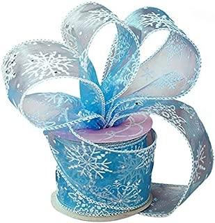 Blue Frozen Snowflake Christmas Ribbon - 2 1/2