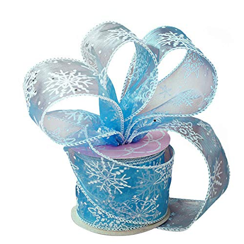 Blue Frozen Snowflake Christmas Ribbon - 2 1/2' x 10 Yards, Gift Wrapping, Wreath Decoration, Garland, Tree Topper Bow, Boxing Day, Gift Basket, Presents