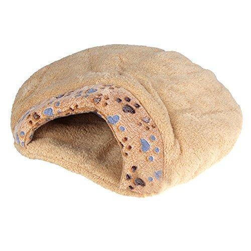 TOOGOO Nueva cama de mitad cubierta de cojin de mascotas comoda y calida de invierno bonita en forma de hamburguesa de felpa S