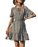 PRETTYGARDEN Women's Summer Short Dresses Boho Floral Print Tie Neck Short Sleeve Elastic High Waist Ruffle Mini Skater Dress (Black, Large)