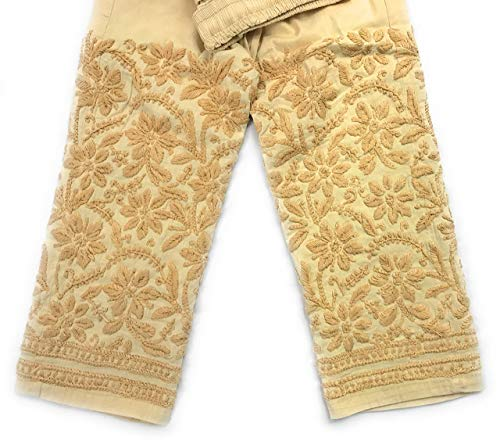 Lucknow Chikankari stretchable cotton leggings,narrow pants/Comfortable ankle length narrow pants Beige/Hand embroidered/One size fits most (Beige) LENGTH:37 Inches