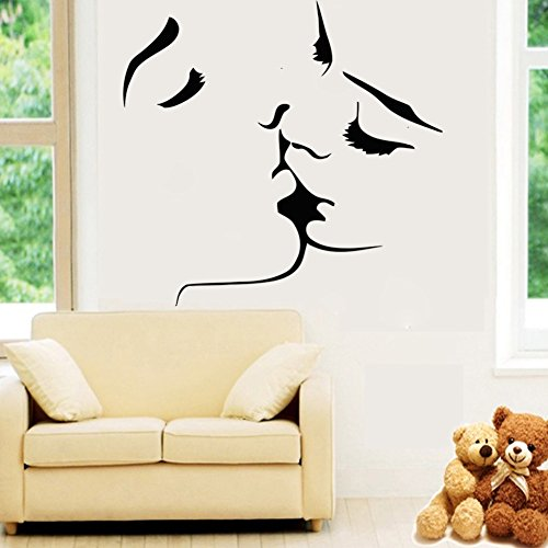 Amaonm® New Desgin Couples Kiss Wall Decals Removable Vinyl Home Decoration Art Decor Wall Stickers & Murals Decorative Painting Supplies & Wall Treatments Sticker for Living Room Bedroom (8468)