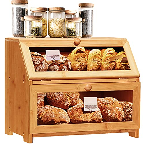 Vicllia Bamboo Bread Box Double Layers Bread Food Storage, Large Capacity BreadBox Countryside Style Bread Holder Bin for Kitchen Countertop(Easy Self-Assembly)