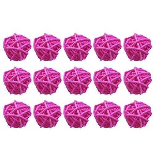 Supvox 15 Piezas de Mimbre Bola de Ratán Orbes Decorativos Relleno de Jarrones Adornos de Bolas de Árbol de Navidad Bolas de Difusor de Aroma Decoraciones Colgantes de Boda (Rosa 5 Cm)