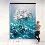Creación de una Famosa Obra de Arte del Pintor Pintura al óleo Paisaje Ola de mar sobre Lienzo como Mural Decorativo del Pasillo del Dormitorio Pared de la Sala de Estar sin Marco