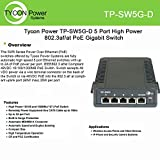 Tycon Power (TP-SW5G-D) 5 Port High Power 802.3af/at PoE Gigabit Switch