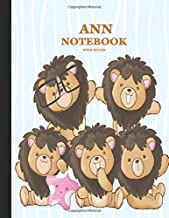 ANN Wide Ruled Notebook: Cute Lion Family Personalized Blank Wide Ruled Lined School Notebook / Journal for Girls & Women. School Supplies Birthday & ... Composition Girly Girl Woman's Name