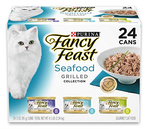 Purina Fancy Feast Grilled Seafood Wet Cat Food Variety Pack, Seafood Grilled Collection - (24) 3 oz. Cans