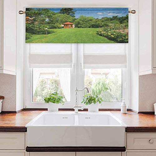 Aishare Store Kitchen Valance Curtain, Peaceful Countryside Landscape with Blooming Roses Brick Path and a Small Gazebo, 54' W x 18' L Blackout Curtain Valances for Kitchen, Multicolor