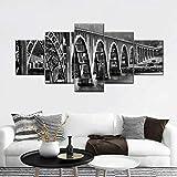 BDFDF 5 Piezas Cuadro En Lienzo 5 Lienzos Impresión Cuadros Puente De Oregon 5 Murales Decorativos Pared XXL Decoracion para Salón Dormitorio Pared Listo para Colgar Marco 150X80Cm