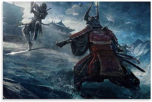 """Iooie Lienzo Y Arte De Pared PóSter Japón Samurai Fashion Cool Mural Duelo e Imagen para decoración Familiar Moderna Pintura Pared Y Estampados Cuadros 19.7""""x27.6""""(50x70cm) Sin Marco"""