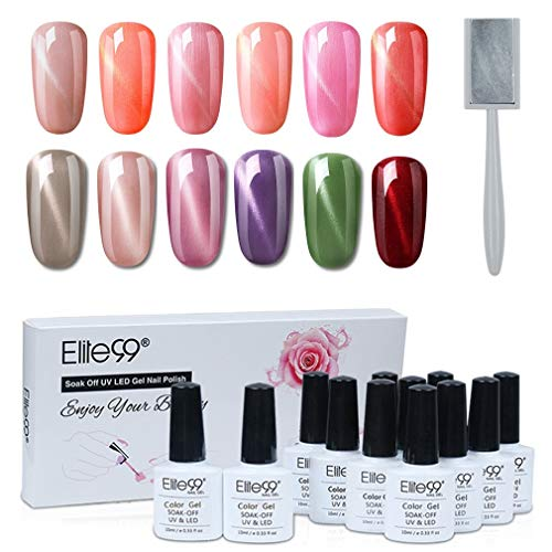 Elite99 Esmaltes Semipermanentes de Uñas en Gel UV LED, 12 Colores Kit de Esmaltes de Uñas Ojo de Gato con Imán 007