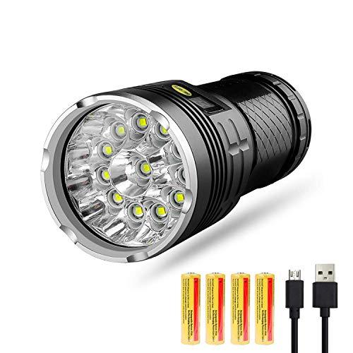 XZANTE Torcia a LED 10000 Lumen,12xxm-L T6 LED 4 modalità Torcia Tattica Super Bright,Luce Palmare Impermeabile con Display di Alimentazione E Batterie al Litio Ricaricabili 4x18650