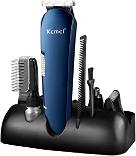 Kemei Men's Head to Toe 5 in 1Electric Hair Clippers Multi-functional Electric Barber Rechargeable Wireless Shaving Machine Hair Shaver Nose Blind Angle Trimmer Cutter Cordless Usb Fast Charge Blue