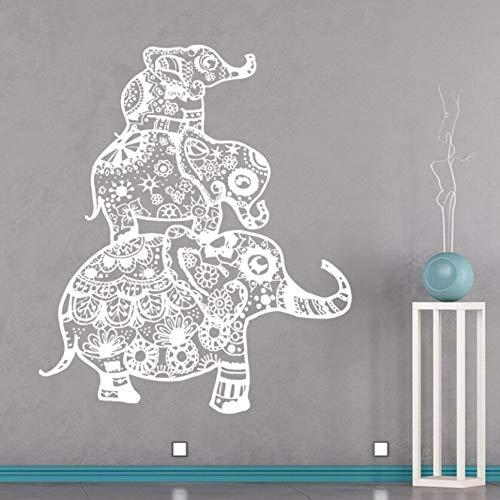 yiyitop Elefanten Familie Wandtattoo Böhmischen Stil Pyjama Boho Wandaufkleber Vinile Abnehmbare Yoga Studio Tapete Wandaufkleber Dekoration 57 * 68 cm
