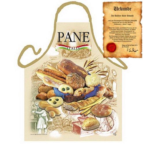 sabuy Grillschürze mit Urkunde - Italienisches Brot - Lustige Motiv Schürze als Geschenk für Grill Fans mit Humor - NEU mit gratis Zertifikat