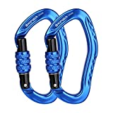 XINDA 22KN Screwgate Climbing Carabiner Clip, Heavy Duty Offset D-Ring Locking Carabiner Large, CE UIAA Certified Carabiner Hooks for Climbing Hammock (2 pcs Blue)