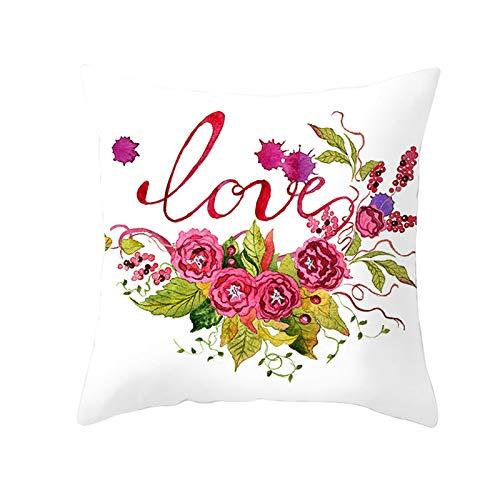 KnBoB Funda de Cojin 45 x 45 cm Love Flores Rosa Verde Poliéster Estilo 22