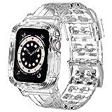 NAGAO Correa con Funda Compatible con Apple Watch 38mm 44mm 42mm 40mm,Funda con Correa Deportes de Silicona Suave Transparente para iWatch Series SE 6 5 4 3 2(38mm/40mm,Transparente)