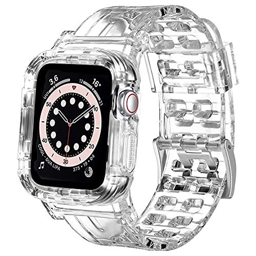 NAGAO Correa con Funda para Apple Watch 38mm 44mm 42mm 40mm 41mm 45mm,Funda con Correa Deportes de Silicona Suave Transparente para iWatch Series SE 7 6 5 4 3 2(38mm/40mm/41mm,Transparente)