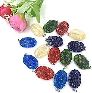 Ecloud Shop® 15 x pendentifs Murano Millefiori ovale Multicolore 25x18mm