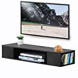 FITUEYES Mueble TV Colgante Madera Gabinete Flotante Estante en la Pared Color Negro Mate DS210003WB