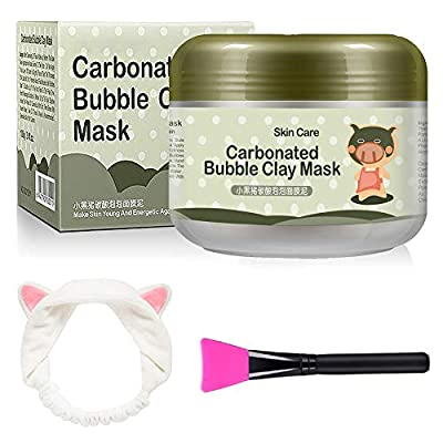 Carbonated Bubble Clay Mask - OCHILIMA Bubbles Mud Mask with Headband & Brush for Face Deep Cleansing Reduce Pores Purifying Face Mask for All Skin Types - 3.52 oz