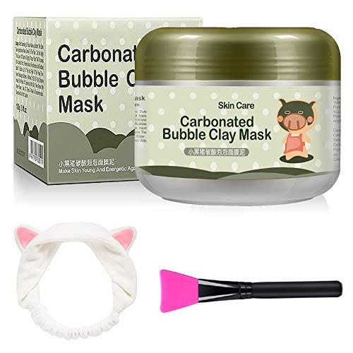 Carbonated Bubble Clay Mask - OCHILIMA Bubbles Schlammmaske mit Stirnband und Pinsel für die Tiefenreinigung des Gesichts Poren reduzieren Porenreinigende Gesichtsmaske für alle Hauttypen - 3,52 oz