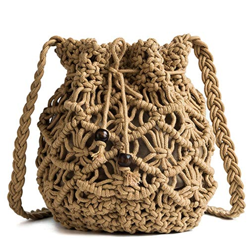 Women's Bucket Drawstring Handbag Straw Shoulder Bag Straw Weave Crossbody Handbag Beach Bags