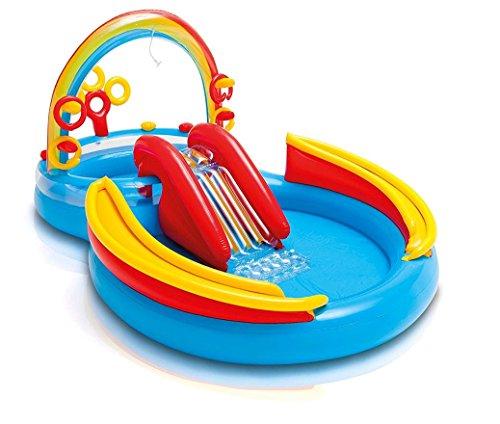 Intex 57453-Playground Arcobaleno, Piscina Hinchable con diseño de Arcoiris, 297x 193x 135cm