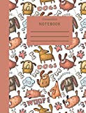 Composition Book: Dog Themed Composition Notebook for School 7.5 x 9.75 Wide Ruled 100 Pages Bronze Spine