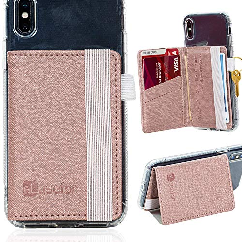 Cell Phone Wallet Stick on Stand, Credit Card Holder for Back of Phone, Adhesive Phone Pocket Sleeve for Cash, ID Card and Keys. Compatible with iPhone, Android Phone and Most Cell Phones