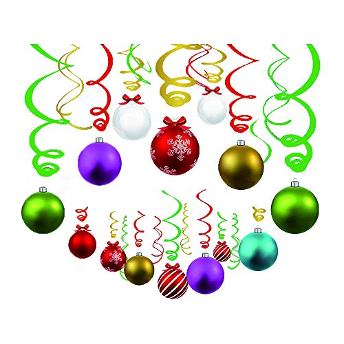 30Ct Christmas Light Bulb Hanging Swirl Decorations -Christmas Light Bulb Party Supplies Fan Decors