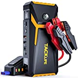 TACKLIFE T8-Newer Model 800A Peak 18000mAh Car Jump Starter with LCD Display (up to 7.0L Gas, 5.5L Diesel Engine), 12V Auto Battery Booster with Smart Jumper Cable, Quick Charger(Yellow)