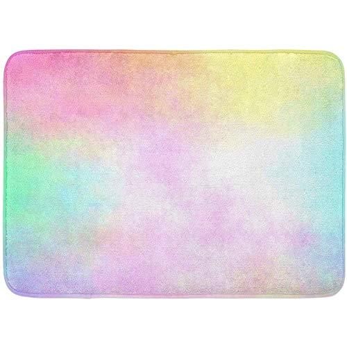 dilidy Fußmatten Bad Teppiche Türmatte Gelb Regenbogen Pastell Aquarell Airbrash Blau Cyan Magenta Blass Badezimmer Dekor Teppich Badematte