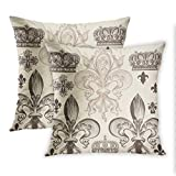 Lichtion Set of 2 Fleur-De-Lis Throw Pillow Covers Print Heraldic Pattern with and Crowns Tiara Coat of Arms Knight Decorative Soft Bedroom Sofa Durable Waterproof Pillowcase Cushion Couch 20X20 Inch