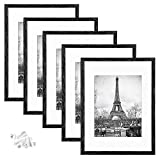 upsimples 12x16 Picture Frame Set of 5,Display Pictures 8.5x11 with Mat or 12x16 Without Mat,Wall Gallery Photo Frames,Distressed Black