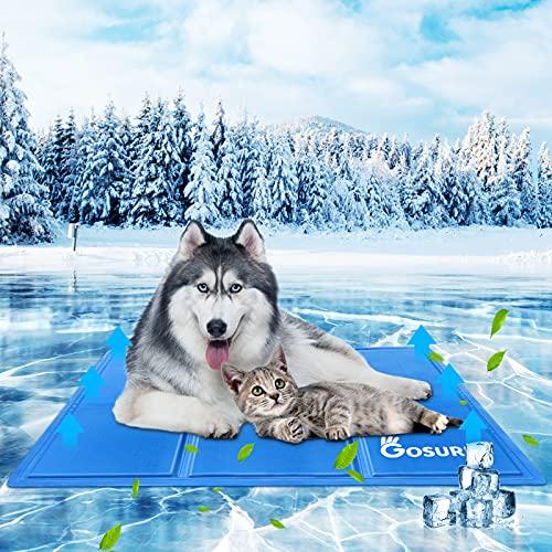 Haustier Kühlmatte,Haustierkühlmatte,Haustier Eismatte Selbstkühlende Matte, kühlendes Kissen für Hunde und Katzen kühlende Decke Pad für Kisten, Hundehütten Betten,Reisen und zuHause (L(50*95cm))