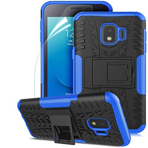 Samsung Galaxy J2 Case,Galaxy J2 Core Case/J2 Dash/J2 Pure/J260/J2 Shine,Numy Dual Layer Shockproof,w HD Screen Protector,Protective w Kickstand Hard PC & Soft TPU Case,Attractive Tire Appearance-Blue