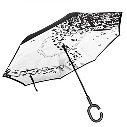 Paraguas de música Notas de música Volar en el Aire Notación Musical Doodle Línea Raya Coche Reversa Invertida A Prueba de Viento Protección UV Paraguas -K55