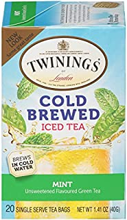 Twinings of London Mint Green Cold Brewed Iced Tea Bags, 20 Count (Pack of 6)