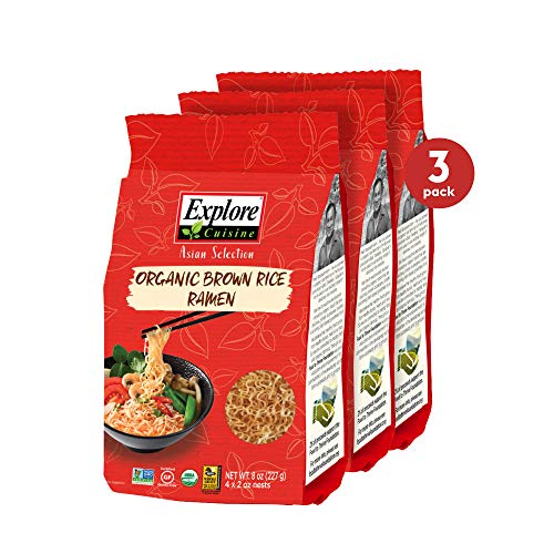 Explore Cuisine Organic Brown Rice Ramen (3 Pack) - 8 oz - Easy to Make, Healthy Pasta Alternative - USDA Certified Organic, Non-GMO, Gluten-Free, Vegan, Kosher - 12 Total Servings
