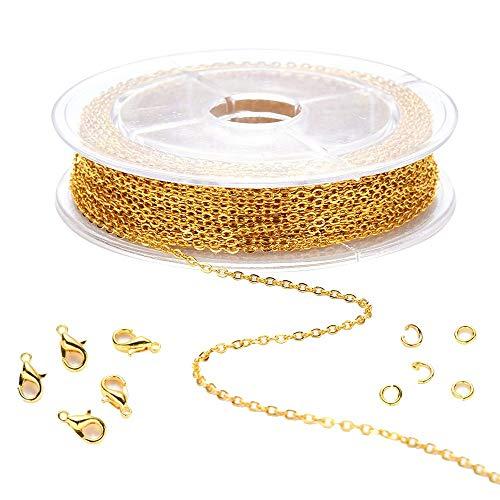 MiOYOOW 39 Füße DIY Link Kette Halsketten mit 20 Karabiner Verschlüsse und 50 Sprung Ringe für Schmuck Herstellung
